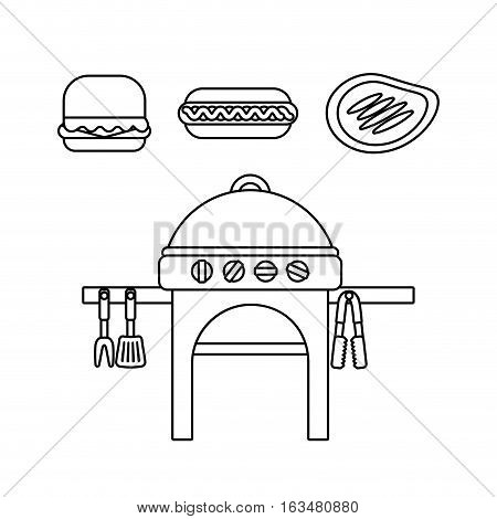 barbecue grill and grilled food  icon over white background. delicious barbecue concept. vector illustration