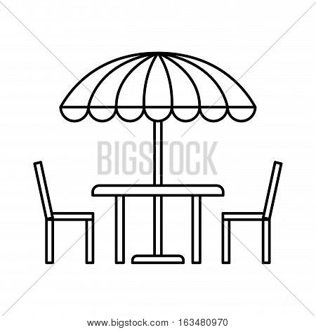 table, chairs and striped parasol over blue background. vector illustration