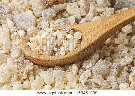 Frankincense background. Frankincense (Boswellia sacra) is an aromatic resin, used for religious rites, incense and perfumes