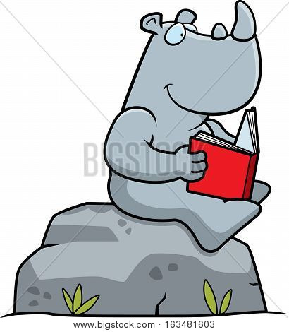 Cartoon Rhino Reading
