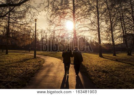 Two elderly people walking in a park in the sunset