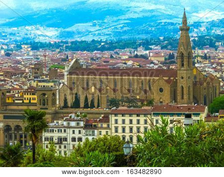 Florence, Italy - May 01, 2014: The Basilica di Santa Croce or Basilica of the Holy Cross - famous Franciscan church on Florence, Italy on May 01, 2014
