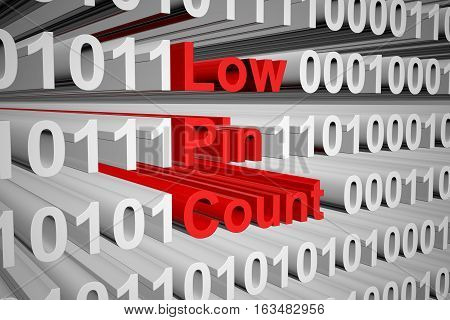 Low Pin Count in binary code, 3D illustration