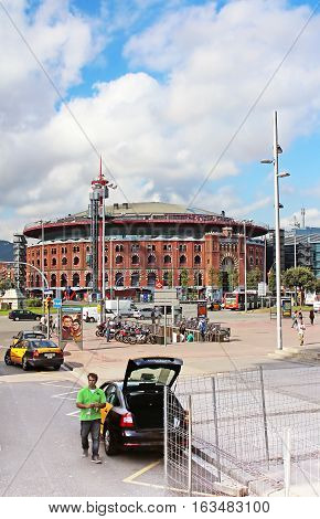 BARCELONA, SPAIN - OCTOBER 08, 2013: View of Plaza de Espana with Arena in Barcelona, Spain. It was built for the Exposicion Universal de Barcelona in 1929