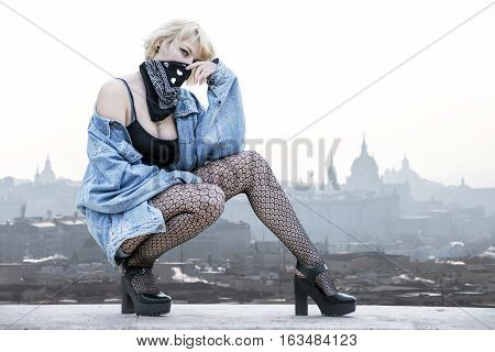 Attractive Urban Looking Model Over City Landscape