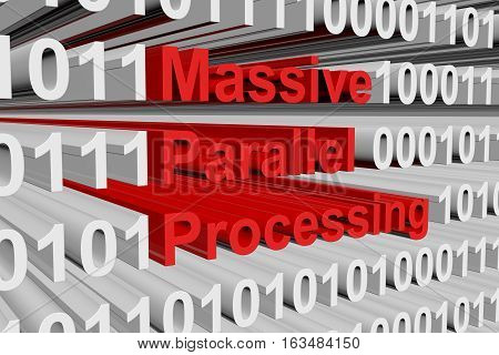 massive parallel processing in the form of binary code, 3D illustration