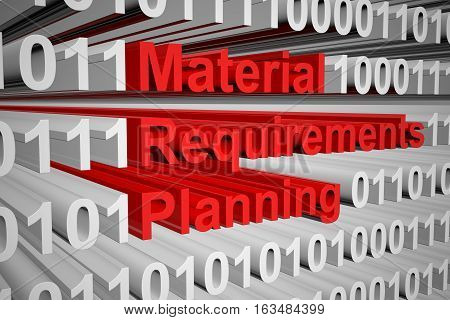Material Requirements Planning in the form of binary code, 3D illustration