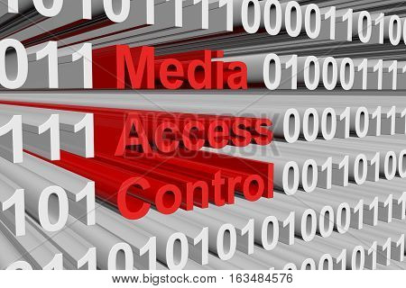 media access control in the form of binary code, 3D illustration
