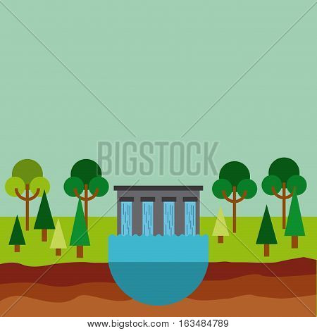hydroelectric station plant water dam. colorful design. vector illustration