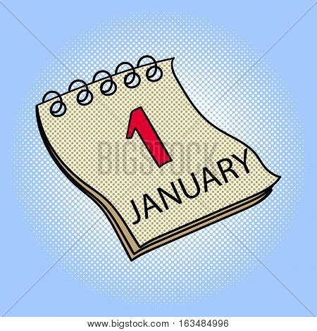 Calendar January 1 pop art design vector illustration. Book separate objects. Almanac hand drawn doodle design elements.