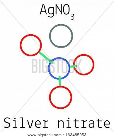 Silver nitrate AgNO3 molecule isolated on white