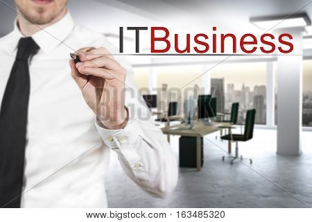 businessman in modern office pushing small button it business