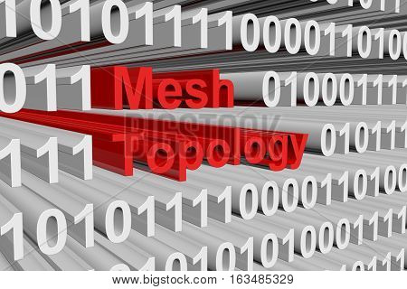 Mesh Topology in the form of binary code, 3D illustration