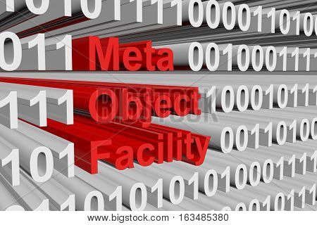 Meta Object Facility in the form of binary code, 3D illustration