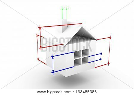 house in the coordinate system on white background 3D illustration