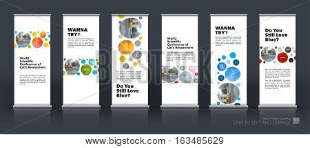Abstract business vector set of modern roll Up Banner stand design template with circles, rounds for exhibition, fair, show, exposition, expo, presentation, festival, parade, events.