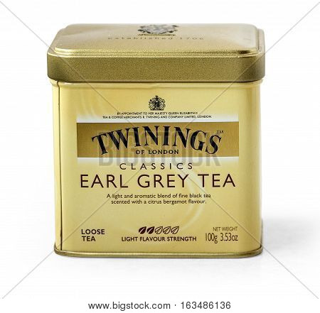 Warsaw Poland - November 04 2016: Image of Twinings tea bag isolated on white Twinings was founded in 1706 in London.