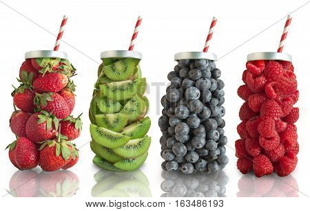 Smoothie fruits in the shape of a beverage with straw including strawberries raspberries kiwis and blueberries