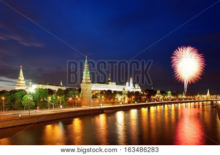 Fireworks over the Moscow Kremlin and the Moscow river Russia. Victory Day celebration