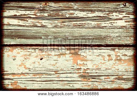 Old white painted weathered distressed wood oak plank background