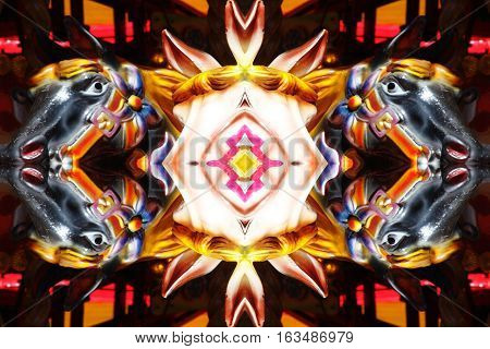 Abstract kaleidoscope mirror  reflection of carousel horses background pattern