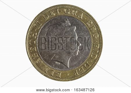 Elizabeth II 1998 two pound coin of England UK which is still in current use