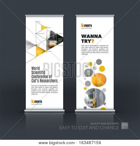 Abstract business vector set of modern roll Up Banner stand design template with rounds, triangles, polygons for exhibition, fair, show, exposition, expo, presentation, festival, parade, events