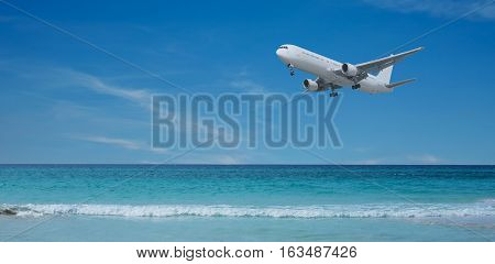 Landing approach of a plane across the beach on Cuba Varadero