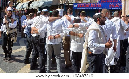JERUSALEM ISRAEL 26 10 16: Jewish man celebrate Simchat Torah. Simchat Torah is a celebratory Jewish holiday marks the completion of the annual Torah reading cycle