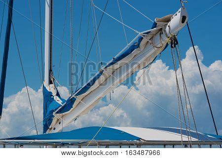Catamaran mast in the harbour of Varadero, Cuba