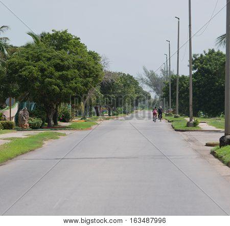 Varadero, Cuba - September 09, 2016: Country road on the peninsula Hicacos Varadero Cuba