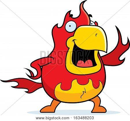 Cartoon Phoenix Waving