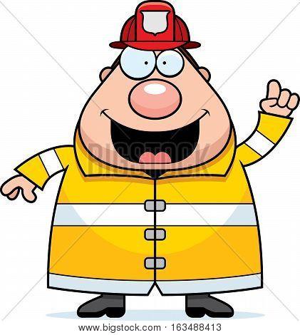 A cartoon illustration of a fireman with an idea.