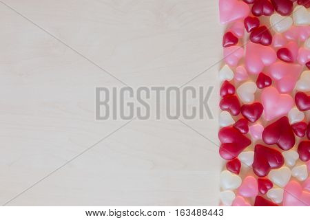 Assorted heart shaped jelly candy and spase for text