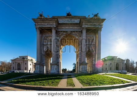 Arco Della Pace (porta Sempione) Sunrise In Milan Italy Traveling Sightseeing Destination Winter 201