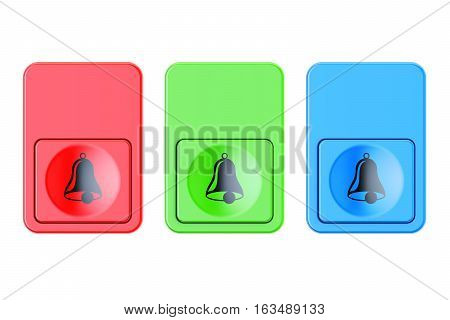 Colored doorbells buttons 3D rendering isolated on white background