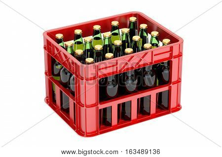 Crate with beer bottles 3D rendering isolated on white background