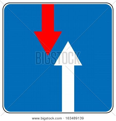 Priority over oncoming vehicles traffic sign isolated on blue. Vector road symbol, red and white arrows. Vector illustration