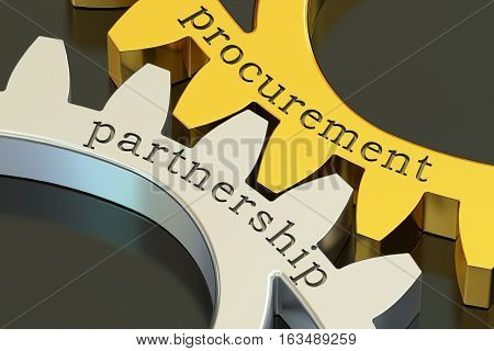 Procurement Partnership concept on the gearwheels 3D rendering