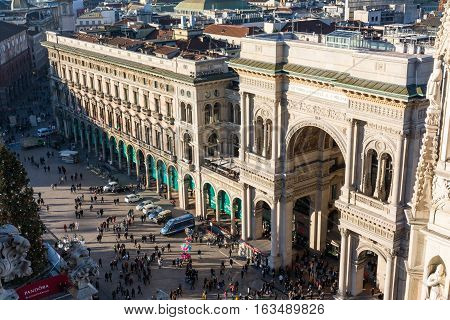 Galleria Vittorio Emanuele Ii Entryway Famous Destination Italy Architecture Shopping Mall During Ch