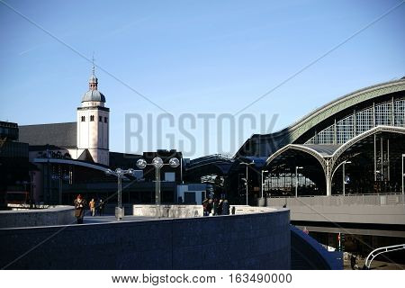COLOGNE, GERMANY - NOVEMBER 24: A platform at the Cologne Cathedral with a view of the main station and the Saint Maria Assumption church on November 24, 2016 in Cologne.