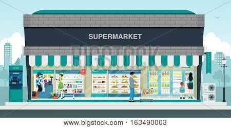 The cashier and a customer in a supermarket