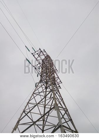 City power tower on the background of gloomy sky