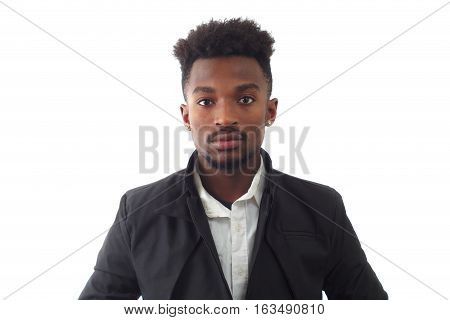 black jacket young man around twenty studio shot white background