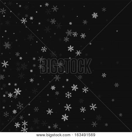 Sparse Snowfall. Left Gradient On Black Background. Vector Illustration.
