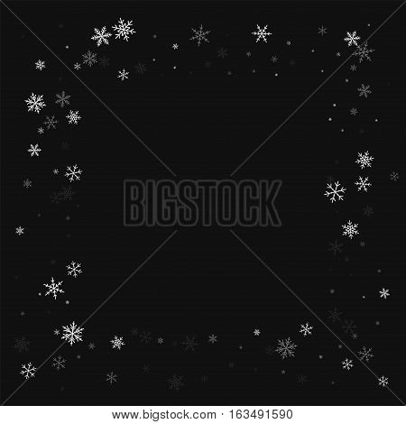 Sparse Snowfall. Square Messy Frame On Black Background. Vector Illustration.