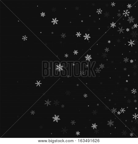 Sparse Snowfall. Right Gradient On Black Background. Vector Illustration.