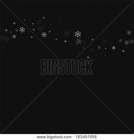 Sparse Snowfall. Top Wave On Black Background. Vector Illustration.