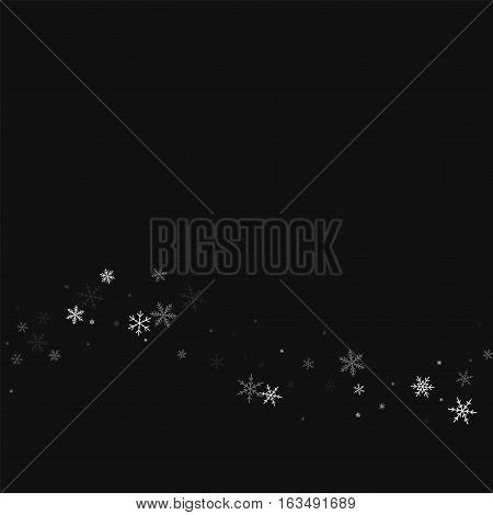 Sparse Snowfall. Bottom Wave On Black Background. Vector Illustration.