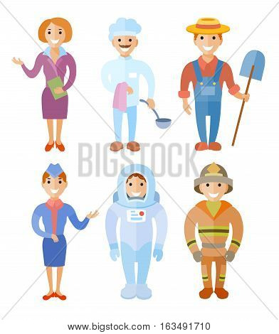 Vector illustration set of people of different professions: business woman chef farmer stewardess cosmonaut farefaighter in flat style
